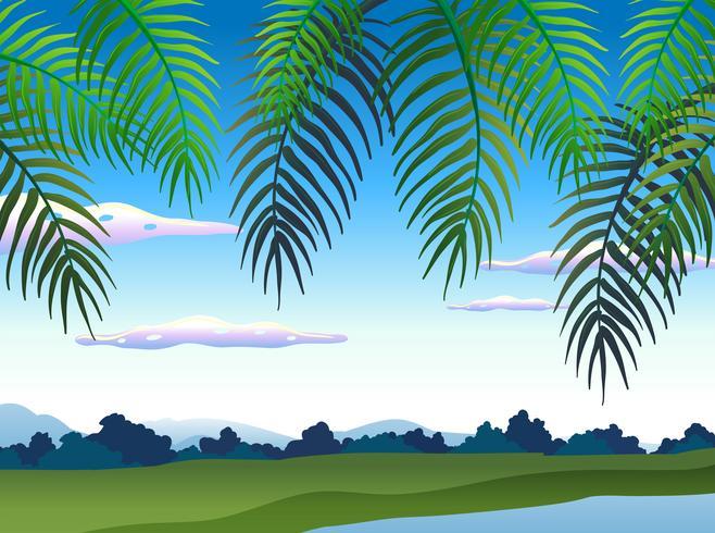 Hermoso paisaje de la naturaleza bajo el árbol vector
