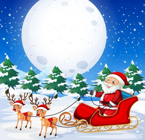 Santa riding  sleigh outdoor vector