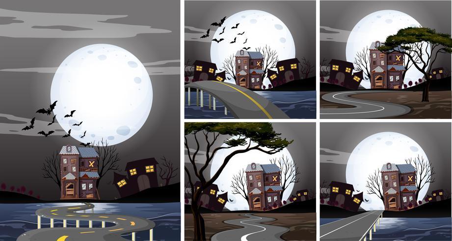 Cinque scene di case infestate di notte