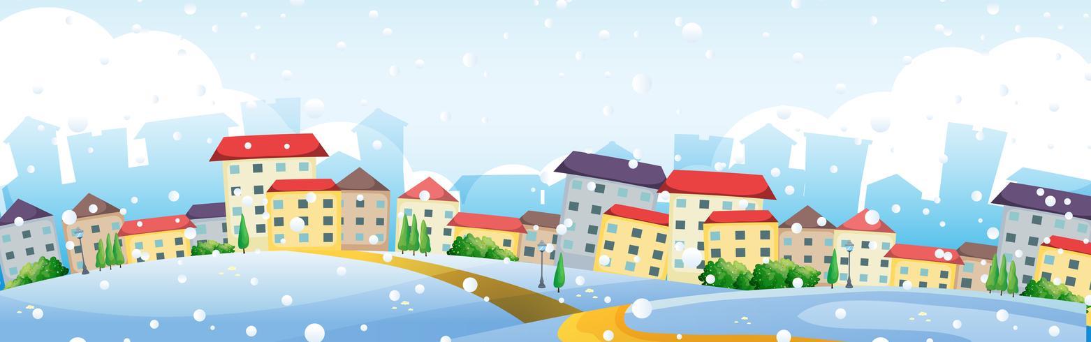 Scène avec maisons de village en hiver