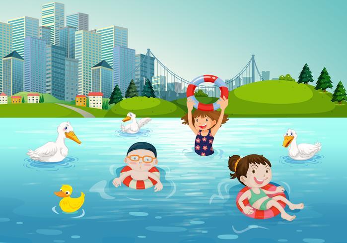 Niños nadando en el lago vector