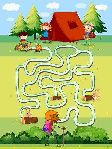Plantilla de juego con niños acampando en el campo. vector