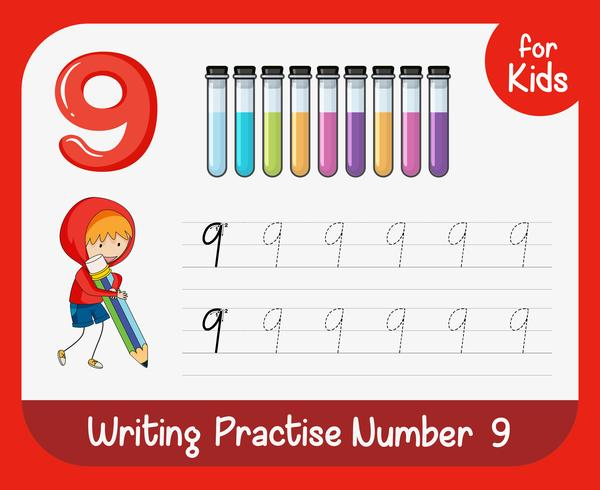 Number nine tracing worksheets