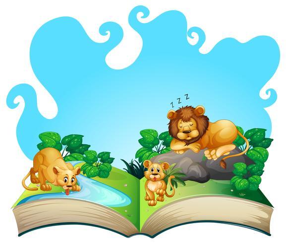 Familia de leones junto al rio