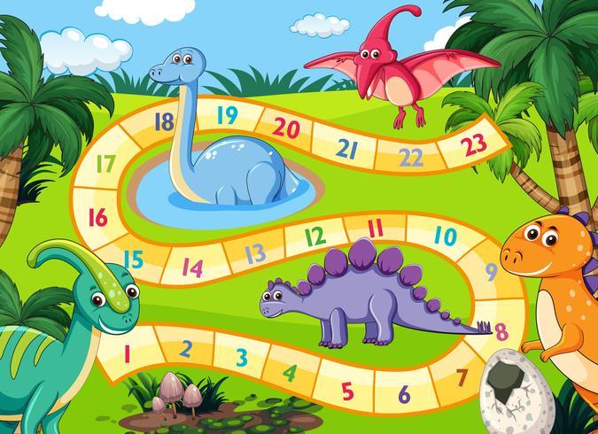 Prähistorische Dinosaurier-Brettspielszene