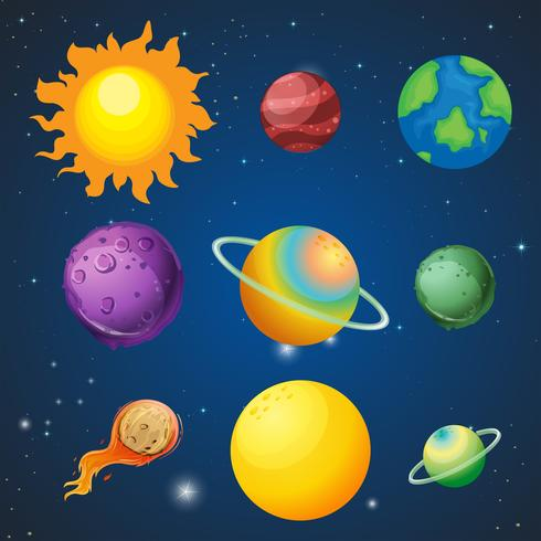 A set of solar systems vector