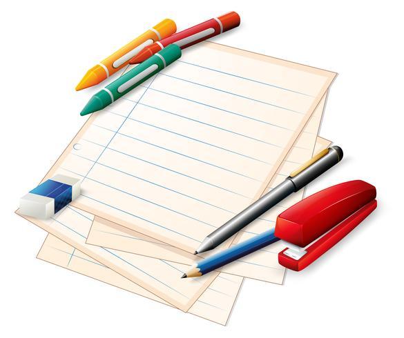 Materiales escolares vector