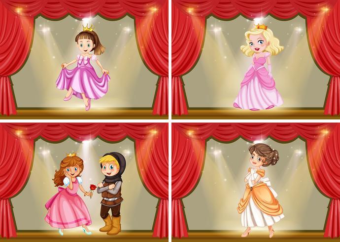 Princesa y caballero en la obra de teatro.