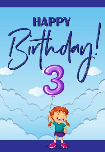 Tarjeta de feliz cumpleaños para tres años. vector