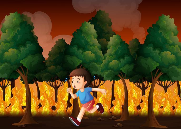 Boy running away from fire vector
