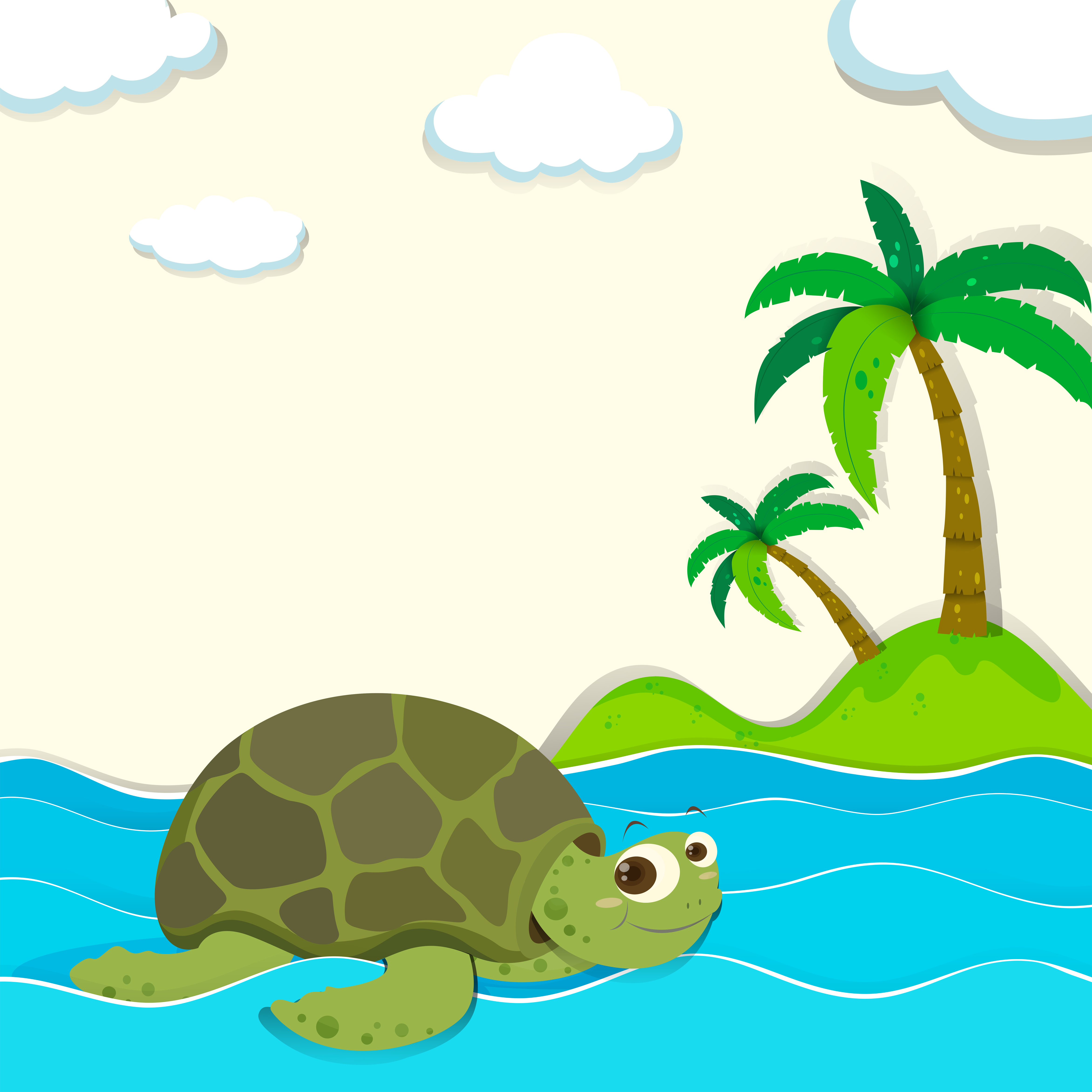 Turtle Swimming In The Ocean Download Free Vectors Clipart