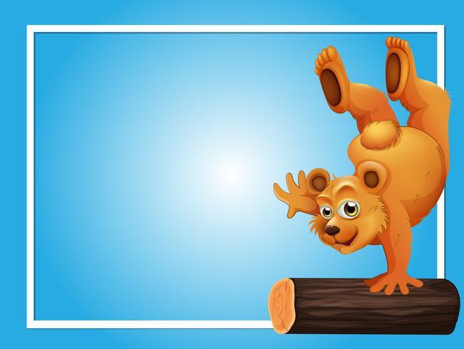 Plantilla de fondo azul con oso en registro
