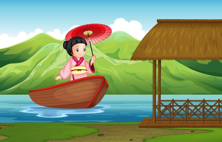Chica japonesa tradicional en la naturaleza vector