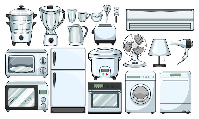 Electronic devices used in the kitchen vector