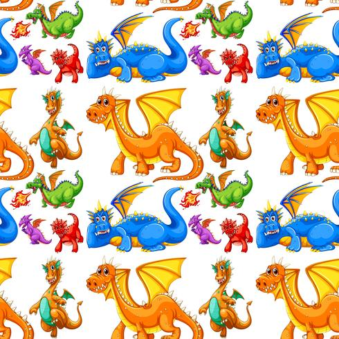 Seamless different type of dragons