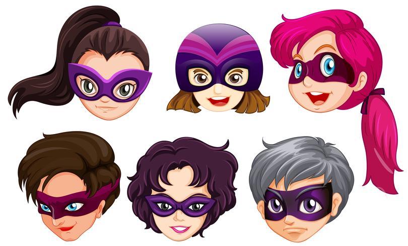 Conjunto de cabeza de superhéroe femenina vector