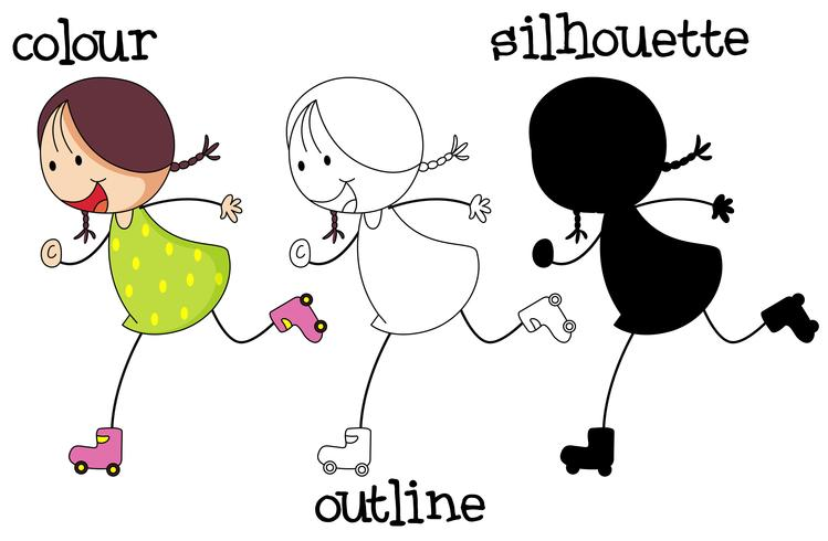 Diferentes tipos de gráficos de patinaje de niña. vector