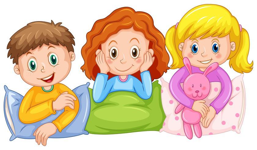 Niños felices en la fiesta de pijamas vector