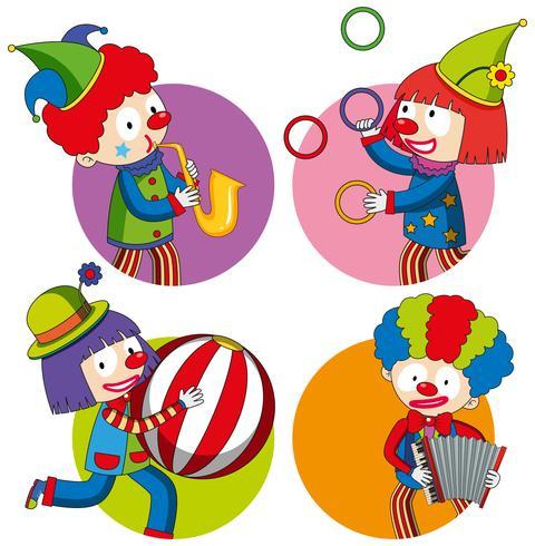 Klistermärke design med glada clowner