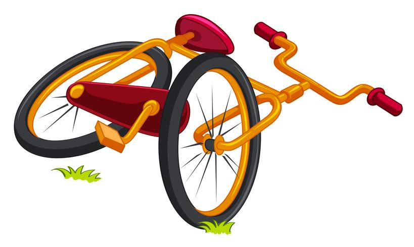 Bicycle on the ground vector
