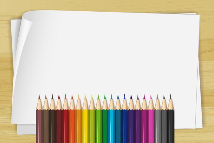 Papel blanco y muchos lápices de colores. vector