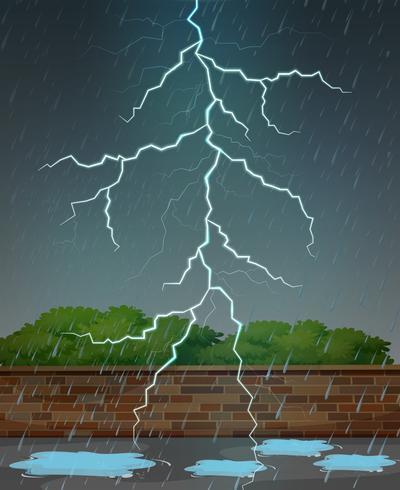 Rayo y lluvia en la noche. vector