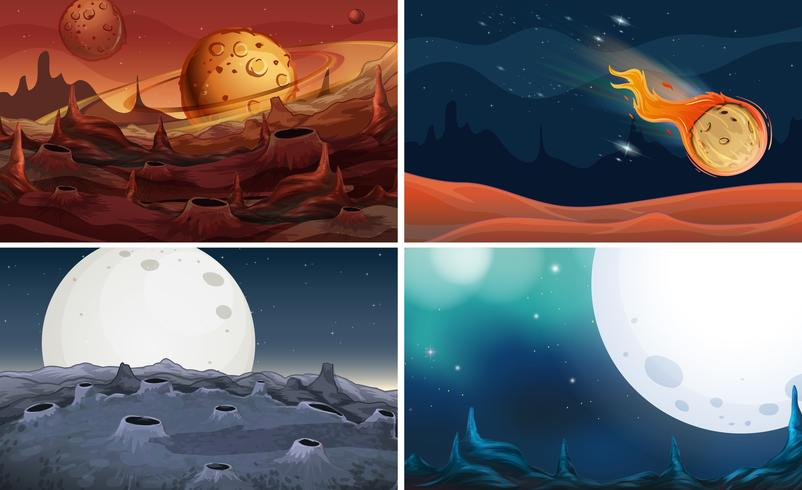 Four scenes of space with moon