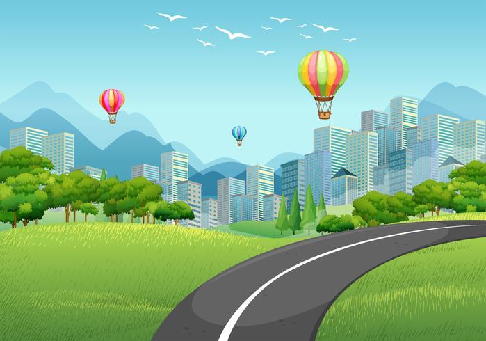 Weg naar de stad vol met gebouwen