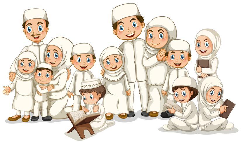 Familia musulmana en traje blanco vector