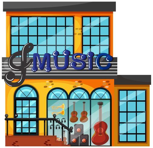 Un negozio di musica su sfondo bianco