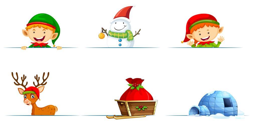 Snögubbe och älva för jul vektor