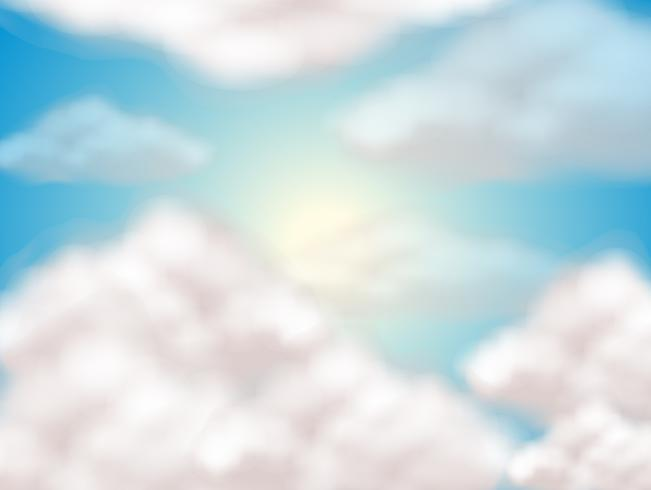 Sky background with fluffy clouds vector