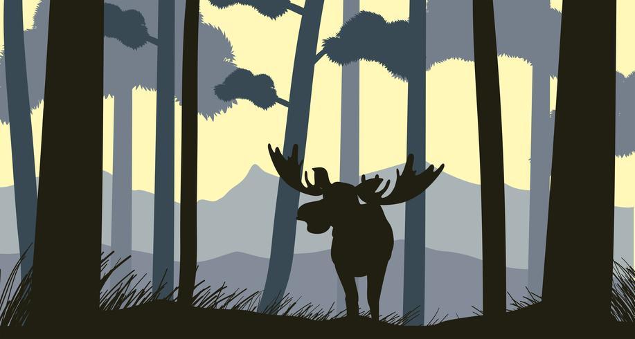 Escena de silueta con alces en el bosque vector