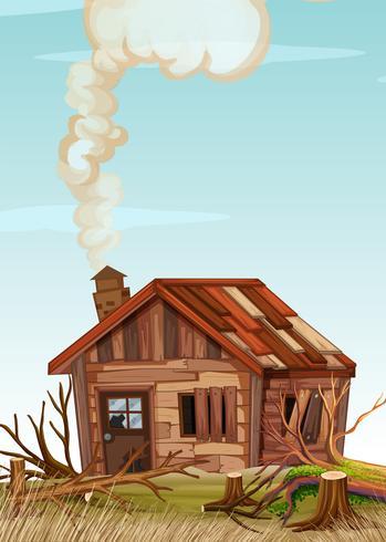 Une vieille maison en bois