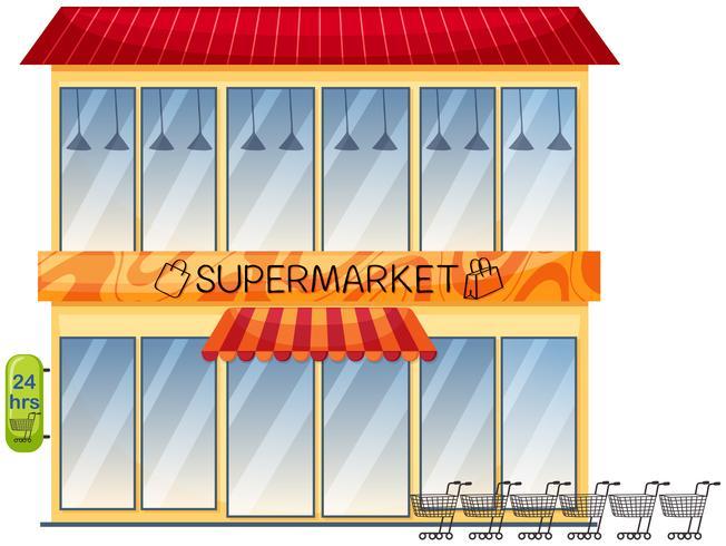Een supermarkt die op witte achtergrond voortbouwt