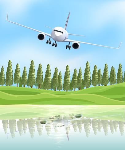 Avión volando sobre el lago vector