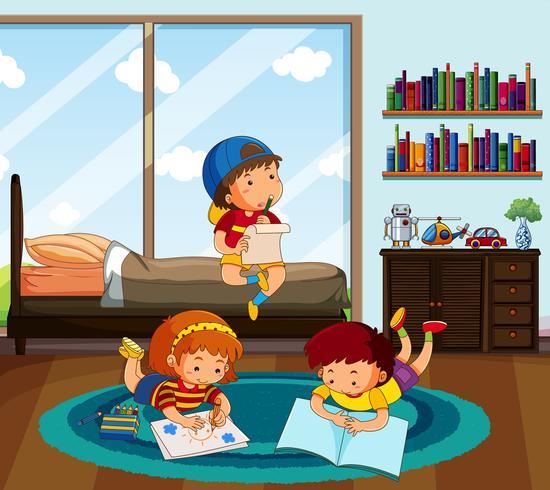 Three kids doing homework in bedroom