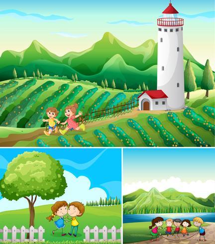 Tres escenas con campo y parque. vector
