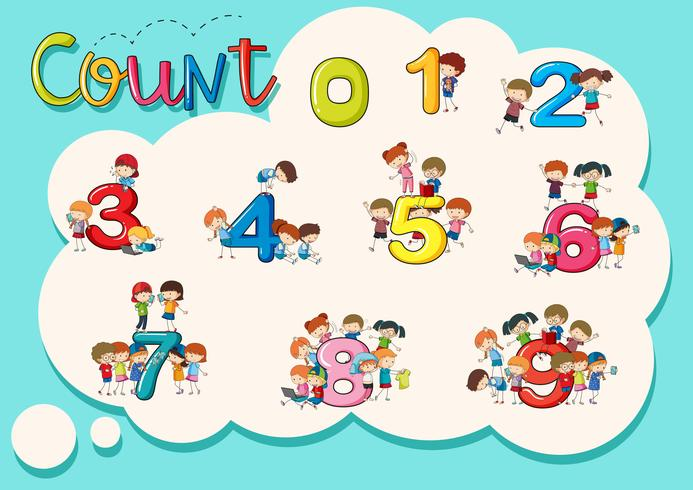 Contando números del uno al nueve póster. vector