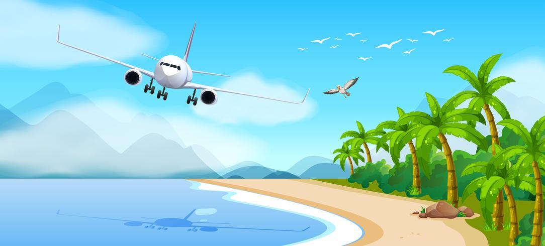 Tema de verano con avión volando sobre el mar. vector