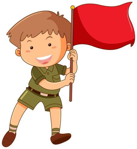 Niño pequeño, con, bandera roja vector