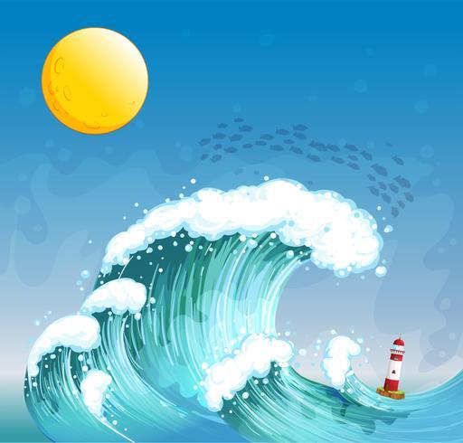 Eine große Welle mit einem Turm