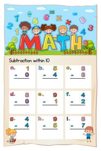 Hoja de trabajo de matemáticas para restar dentro de diez vector