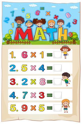 Plantilla de hoja de cálculo matemática con niños y problemas de multiplicación