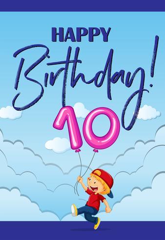 Tarjeta de cumpleaños con niño y número diez. vector