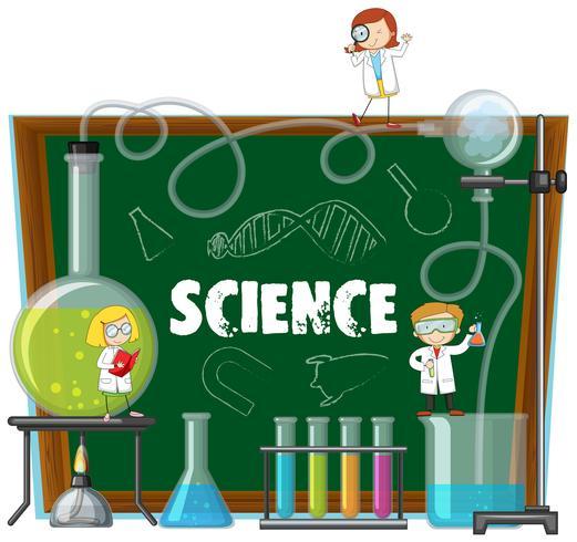 Equipos de laboratorio de ciencias y pizarra vector