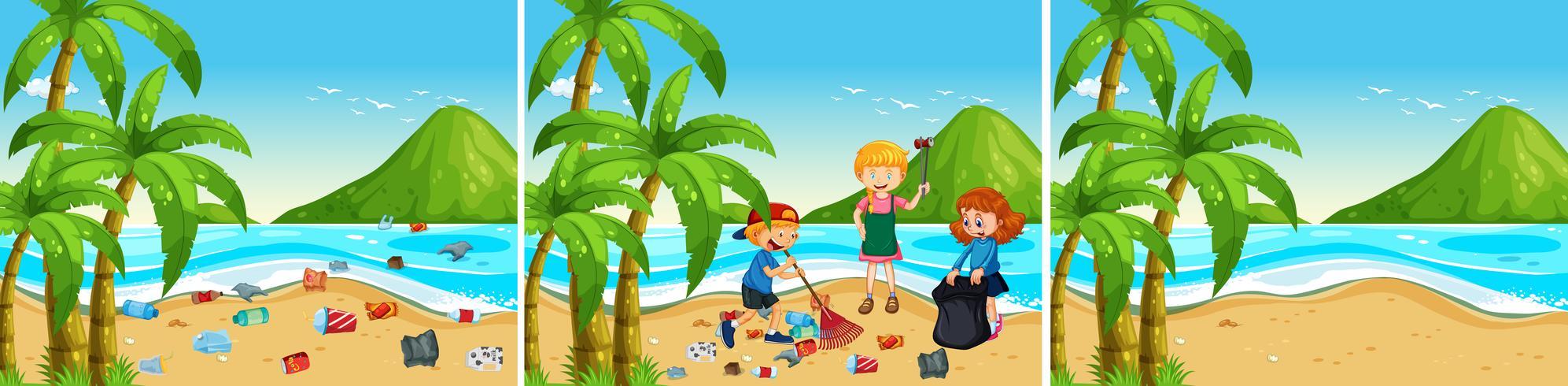 Un conjunto de playa siendo limpio. vector