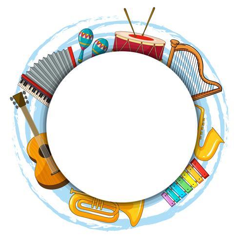 Modelo de quadro com instrumentos musicais