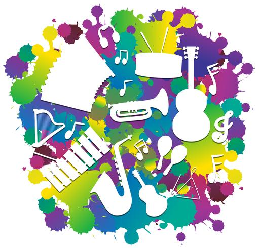 Background with silhouette musical instruments