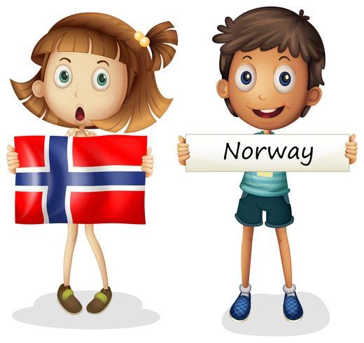 Pojke och flicka med flagga av Norge
